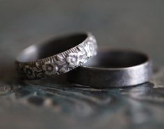 GRACIE: Wedding Rings, Set, Wedding Bands, Sterling Silver, Botanical, Modern, Minimalist, His and Hers, Rustic, Bohemian,  Made To Order