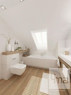 Salle de bains - White with light brown wooden accent colors✅ Loft Bathroom, Bathroom Interior, Small Bathroom, Bathroom Ideas, Wood Floor Bathroom, Bathroom Things, Attic Renovation, Attic Remodel, Attic Spaces