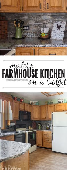 Modern Farmhouse Kitchen Makeover on a Budget - - You don't have to spend a ton of money to get the look you want. Give your own kitchen space an upgrade to create this beautiful modern farmhouse kitchen makeover on a budget. Classic Kitchen, Farmhouse Style Kitchen, Modern Farmhouse Kitchens, Cool Kitchens, Farmhouse Decor, Country Farmhouse, Minimal Kitchen, Country Kitchens, Dream Kitchens