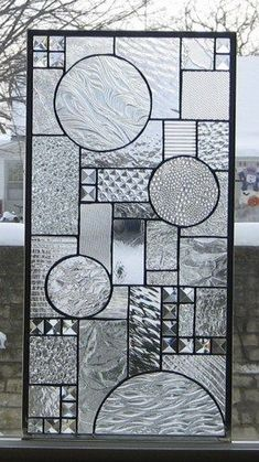 Reverie Stained Glass Window Panel Abstract Geometric EBSQ Artist - stainedglassheirlooms - Glass on ArtFire