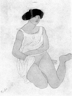 "Rodin, Auguste, ""Sitzendes Mädchen in weißem Hemd"" (Sitting girl in white shirt/blouse).  Pencil and ink on paper. 23.5 x 25.5 cm.  Sammlungen: Max Silberberg (1878-1945) .  Was offered for auction in 1935 in Berlin.  Present location unknown."