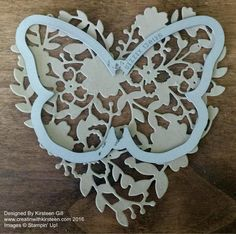 Kirsteen Gill: Independent Stampin' Up! Demonstrator monochromatic butterfly Bloomin' Hearts Thinlits, Bold Butterfly Framelits