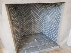 Herringbone Firebrick   Stonetrade® Wood Burner Fireplace, Fireplace Tile Surround, Fireplace Update, Fireplace Hearth, Fireplace Remodel, Fireplace Design, Fireplaces, Wood Stove Wall, Fireplace Ideas