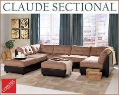 Design it Your Way!   Our Claude sectional not only comes in 2 different finishes, but can also be designed based on your space availability and style!    Shop this look by clicking on the picture and finding an authorized dealer near you!  #Decor #HomeDecor #HomeImprovement #HomeMakeover #HomeFurnishing #HomeGoals #InteriorDesign #Interior123 #InteriorDecor #HomeStyle #HomeInspiration #HomeInspo #DesignInspo #FurnitureDesign #LivingRoom #Sectional #CoasterCompany #Coaster