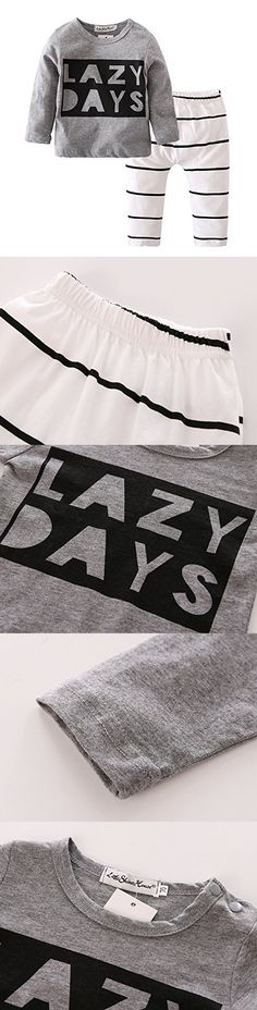 Baby Boys Girls Long Sleeve Lazy Days Printed T-shirt Stripe Pants Outfits Set (9-12 Months)