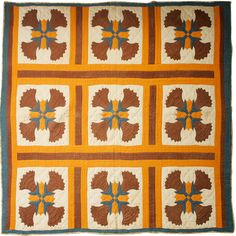 They loved chrome orange in the South. Perfect1870-1910 Southern quilt with chrome orange and other solids.