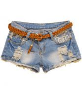 Blue Ripped Bleached Embroidery Denim Shorts $31.97 #SheInside