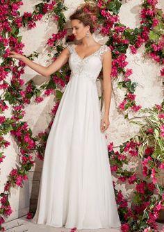 A-Line Sleeveless V-Neck Appliqued Button Sweep Train Wedding Dresses