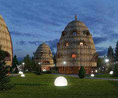 Three Stacks is a group of ecotourism structures proposed for ethnic locations throughout the Ukrainian region. Two of the 4 level structures contain sleeping accommodations for guests, and the third is a restaurant. The buildings are composed of wood, cane, clay and grass, and are linked through modern energy-efficient lighting in combination with landscape elements also native to the region. Designer: Levko Davydyuk http://leoduk.com.ua/en/gallery/architecture/54.html