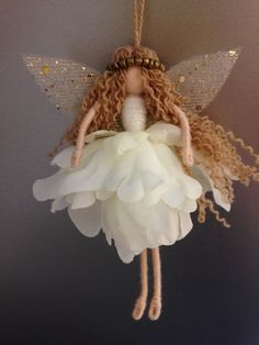Beautiful 'goldie' fairy fairy, fairy ornament, fairy doll, wire fairy Wire doll
