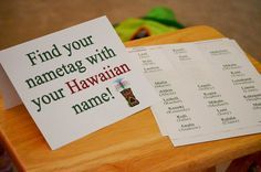 What a great idea for a luau party! Give your guests a new Hawaiian name. Aloha Party, Hawaiian Luau Party, Hawaiian Birthday, Luau Birthday, Tiki Party, Tropical Party, Birthday Party Themes, Birthday Ideas, Beach Party
