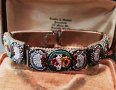 Vintage 40's Green Pink Micro Mosaic Panel Bracelet by WillowBloom, $86.00