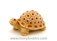 Buy now very high quality mammoth ivory carving netsuke Turtle Inlied with gemstones.The carver has hand carved this Netsuke . You can see all the small d