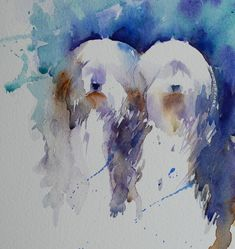 """""""Side by Side"""" Two Bearded Collies in Watercolour An Original painting by Jean Haines Taffy is going from strength to strength in recovery . Watercolor Paintings Of Animals, Animal Paintings, Animal Drawings, Watercolor Illustration, Watercolor Art, Rooster Painting, Bearded Collie, Animal Magic, Old English Sheepdog"""