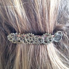 Time Traveller? Stepping Through the stones? Only $17.00 and hand made Steampunk Barrette Steampunk Bride NonTraditional Wedding Punk Industrial Hair Accessory Victorian Hair Accessory Large Barrette Hair Clip by PunkysRooster on Etsy