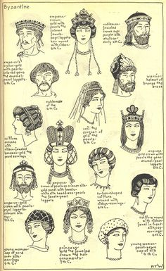 Ilustrations of the different hat and hair styles of Byzantine and Ecclesiastic : Jeweled crowns, fillets, and caps * colored glass ornaments * pearl headdresses * felting *