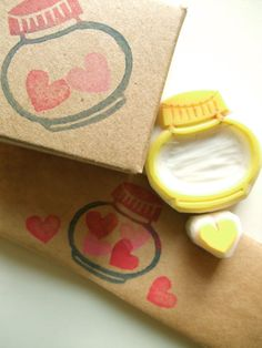 LOVE in the bottle  hand carved rubber stamp  by talktothesun / etsy