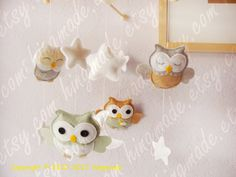 Baby Mobile - Owl Mobile - Nursery Mobile - Crib Mobile - Silver Gray Sage Green White Tan Soft theme (You can Choose your colors)
