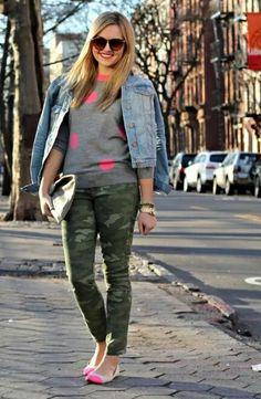 Camo pants - love the color pop!