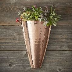 Our stunning wall planter brings the warmth and luster of copper to your décor and features a conical shape that highlights small plants and bouquets of fresh-cut flowers. It's handcrafted of solid copper by highly skilled coppersmiths in White Ceramic Planter, Copper Planters, Vertical Wall Planters, Hanging Planters, Planter Pots, Succulent Planters, Concrete Planters, Succulents Garden, Outdoor Planters