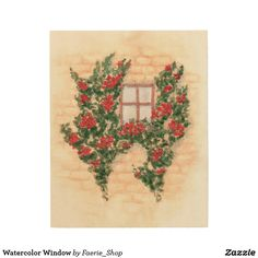 Watercolor Window Wood Wall Art #france #provence #watercolour #wall #painting #roses #flowers #climbing #leaves #faerieshop #zazzle