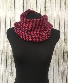 Pink cashmere houndstooth tassel scarf wrap by NativeBabydoll