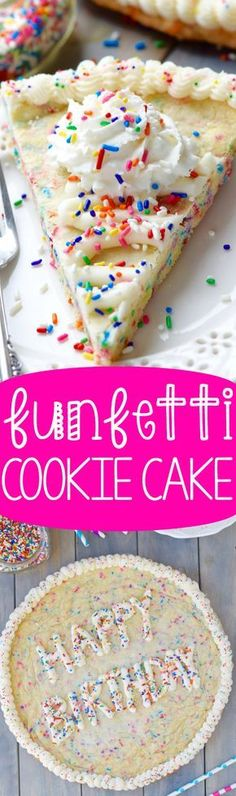 Funfetti Cookie Cake - The perfect mixture of cake and cookie taste. Super easy to make, it's perfect for your next birthday party!