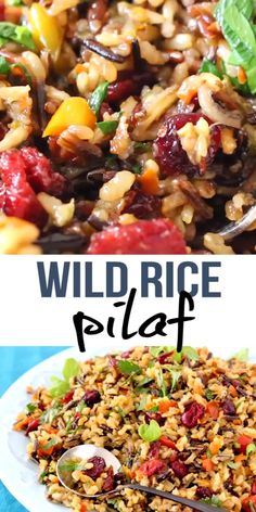 Simple rice recipe made with wild rice, sweet and tangy cranberries, leeks and herbs, a lovely festive side dish worthy of the holiday dinner. Wild Rice Recipes, Easy Rice Recipes, Healthy Dinner Recipes, Vegetarian Recipes, Cooking Recipes, Cooking Videos, Easter Recipes, Rice Dishes, Food Dishes