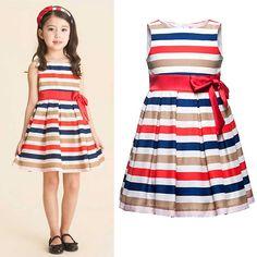 Children's Girls Summer Bowknot New Colorful Dress Lovely Baby Girls Sundress, Free Shipping GD072 $34.89
