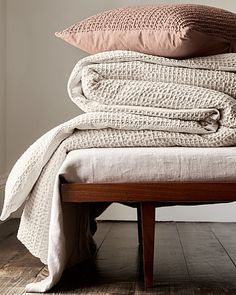"Eileen Fisher Waffle-Weave Organic Cotton Bedding Collection; ""Aztec"" and ""sea salt"""