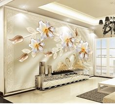 3D Wallpaper Modern Luxury Silk Swan Flower Jewelry TV Background  Home Decor  #Unbranded #Modern