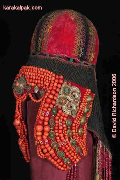 Karakalpak Sa'wkele. The Sa'wkele  The Karakalpak sa'wkele is an elaborate ceremonial headdress embellished with corals and semi-precious stones, once worn by the daughters of the wealthy tribal aristocracy during their marriage ceremonies in the 19th century.