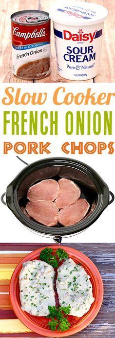 Slow Cooker Pork Chops Recipes Make Easy Boneless French Onion Chops . - Slow Cooker Pork Chops Recipes Easy Boneless French Onion Chops make the perfect … - Crockpot Dishes, Crock Pot Slow Cooker, Crock Pot Cooking, Slow Cooker Recipes, Cooking Recipes, Cooking Tips, Crockpot Boneless Pork Chops, Crock Pot Pork Chops, Healthy Recipes