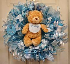 Baby Wreath, Baby Shower Wreath, Baby Boy Wreath, Boy Wreath, Baby Gift, Baby Door Hanger, Baby Door Decor, It's A Boy Wreath by Texascaseyscreations on Etsy
