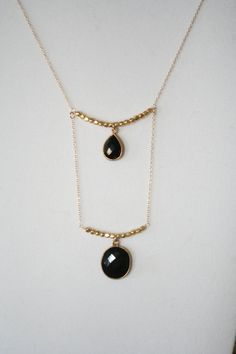 FREE SHIP-- Statement, Delicate, Double Layer Necklace w/ Faceted Bezel set Black Onyx (teardrop, oval, bridesmaid, evening)