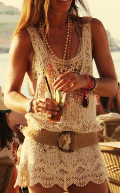 I love a lace tank dress with a wide belt and gobs of Boho accessories.