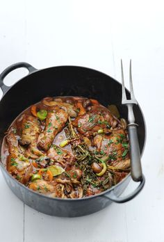 coq au vin with cognac and wild mushrooms delicious. Tapas, Good Food, Yummy Food, Healthy Slow Cooker, Delicious Magazine, Good Healthy Recipes, Food Inspiration, Chicken Recipes, Food And Drink