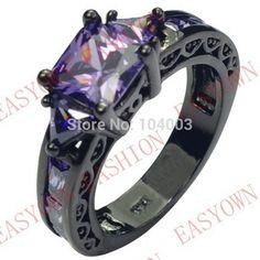 Tamanho 6/7/8/9/10 Ametista Sapphire anéis moda jóias 10KT Black Gold Filled Anel Para Mulheres presente de alta qualidade F2709