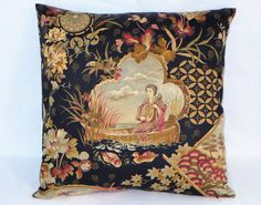 This 18 x 18  pillow is beautifully detailed Oriental print on fine textured cotton sateen. Scenic pictorial Japanese motifs include a lady in a