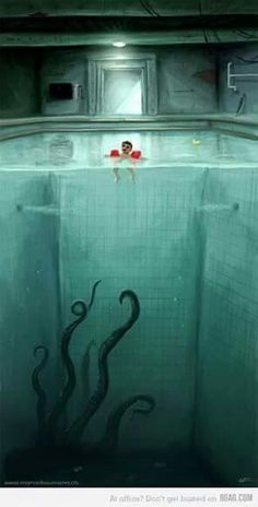 lesson that deals with the concept of more than the eye can see. Whats underneath? What can you imagine?>> this is good,visual and lets you thinking,though its creepy Arte Horror, Horror Art, Dark Fantasy, Fantasy Art, Arte Obscura, Creepy Art, Creepy Kids, Sea Monsters, Children's Book Illustration