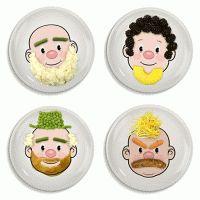 Bordjes met een gezicht om het eten speelser te maken. Gewoon leuker