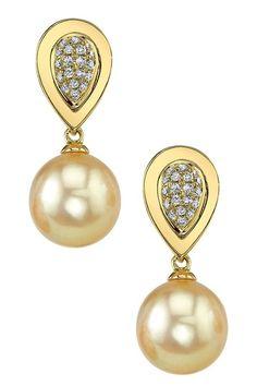14K Yellow Gold 9mm Golden South Sea Pearl & Diamond Teardrop Earrings