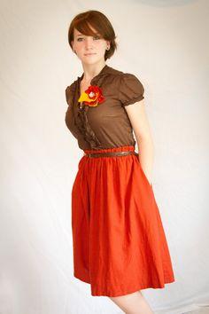 Burnt Orange Vintage Inspired Linen Skirt on Etsy, $25.00