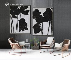 Abstract Painting Original Art Large Paintings on Canvas, Black and White Set of 2 Flower Painting -Ethan Hill Art Easy Canvas Art, Modern Canvas Art, Large Canvas Wall Art, Modern Wall Art, Black And White Painting, Black And White Abstract, Black White, Minimalist Painting, Large Painting
