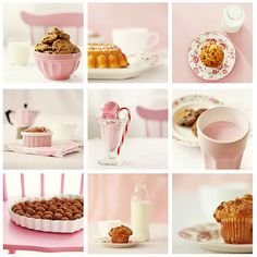 Pink serving dishes (with nonpink food)