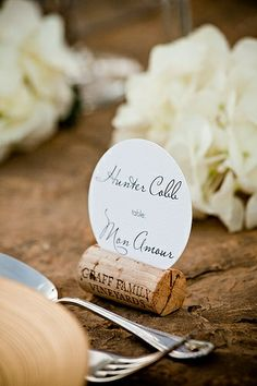 food label / name cards on corks