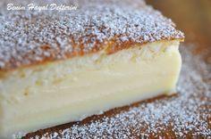 A Magic Cake Recipe - Turkish Recipes Easy Cakes Originales, Vanilla Magic Custard Cake, Vanilla Cake, Magic Cake Recipes, Magic Recipe, Cheesecake Brownie, Easy Desserts, Dessert Recipes, Yummy Recipes