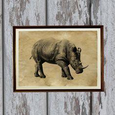 Rhino poster African animal print Safari style Natural by artkurka, $18.00