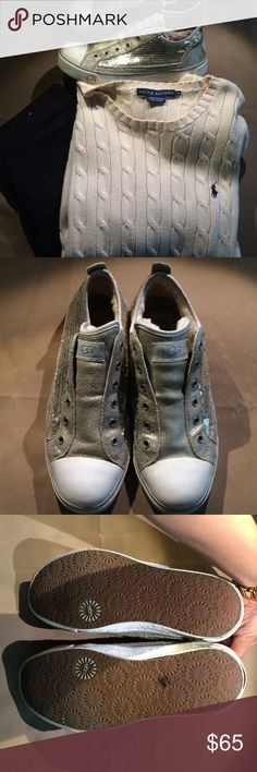 ugh sneakers!  EUC sequin ugg sneakers. The fur is still fuzzy and all the sequins are in tact the soles are practically untouched! Faux laces with elastic on the inside totally water proof.  size 8 UGG Shoes Sneakers