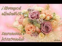 Neved napján szívből köszöntelek!Nagyon boldog névnapot kívánok! - YouTube Name Day, Animals And Pets, Floral Wreath, Wreaths, Rose, Birthday, Flowers, Erika, Youtube